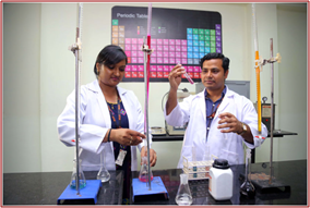 LPU students performing titration